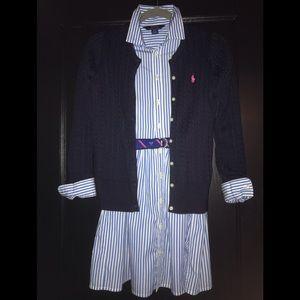 Ralph Lauren Pin Stripe Shirt Dress & Cardigan